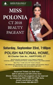 Miss Polonia Connecticut 2018 at the Polish National Home of Hartford