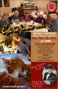 Senior Lunch Buffet with Ray Paris Performance at the Hartford PNH